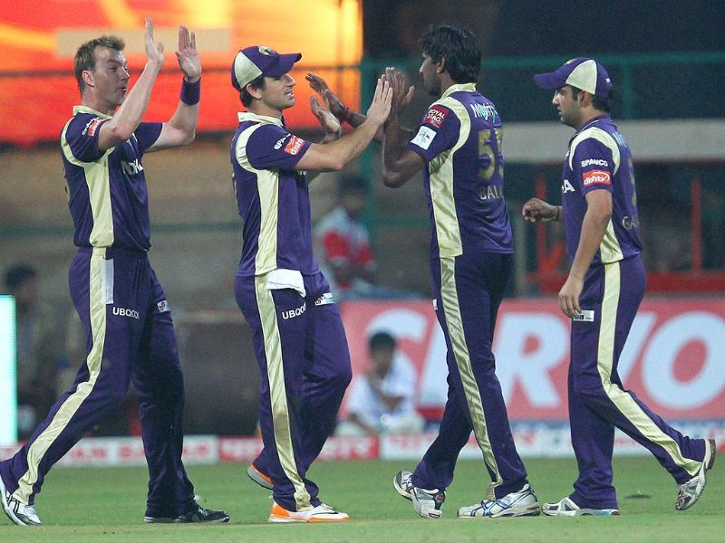 Kolkata Knight Riders' L Balaji celebrates the wicket of Warriors' Jon Smuts during the Champions League T20-2011 match in Bangalore.