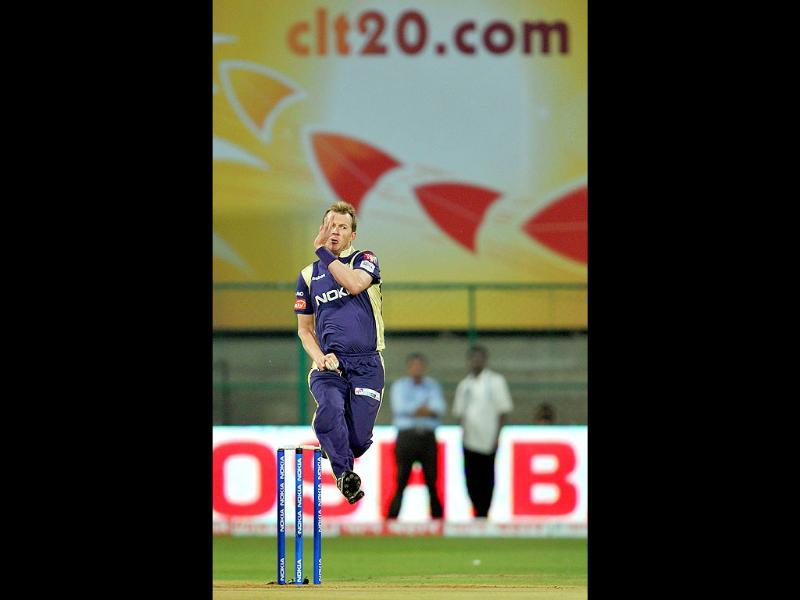 Kolkata Knight Riders Brett Lee bowls during the Champions League Twenty20 League match against Warriors at the M Chinnaswamy Stadium in Bangalore.