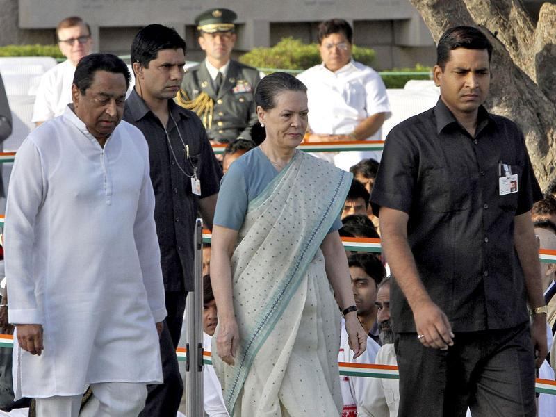 Chief of Congress party Sonia Gandhi arrives to pay homage at the Mahatma Gandhi memorial, on the 143rd birth anniversary of Mahatma Gandhi at Rajghat.