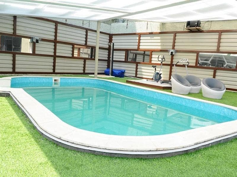 The outdoor spot consists of a pool, the activity area, gymnasium and the kitchen sink.