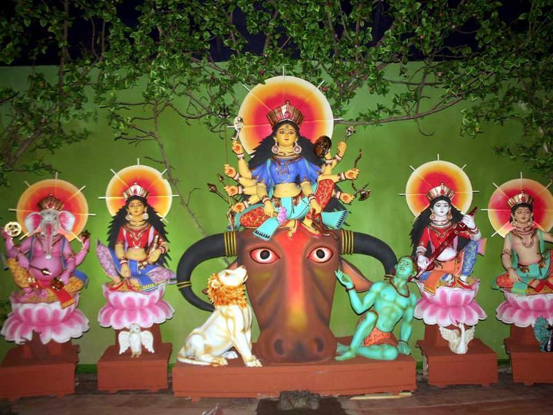 Environment-themed pooja pandal in North Kolkata.