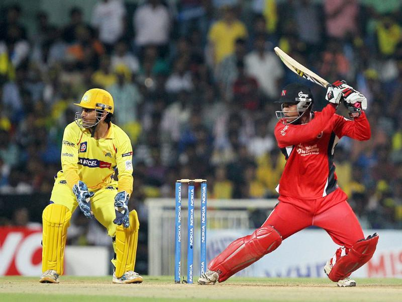 Trinidad and Tobagos' William Perkins in action during the Champions league T20-2011 match against Chennai Super Kings in Chennai.