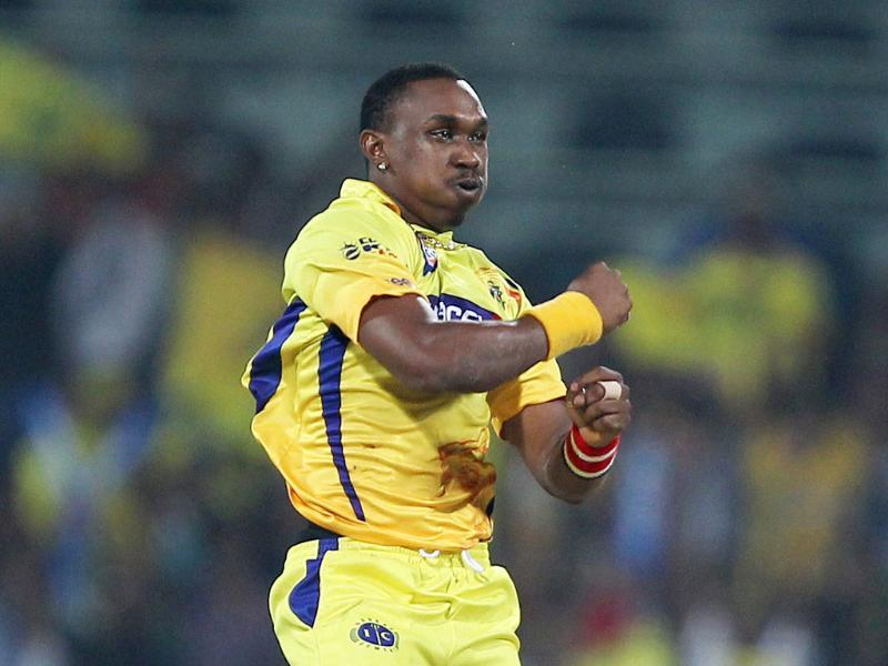 Chennai Super Kings' Dwayne Bravo celebrating a wicket of Trinidad and Tobagos' Denesh Ramdin during the Champions league T20-2011 match in Chennai.