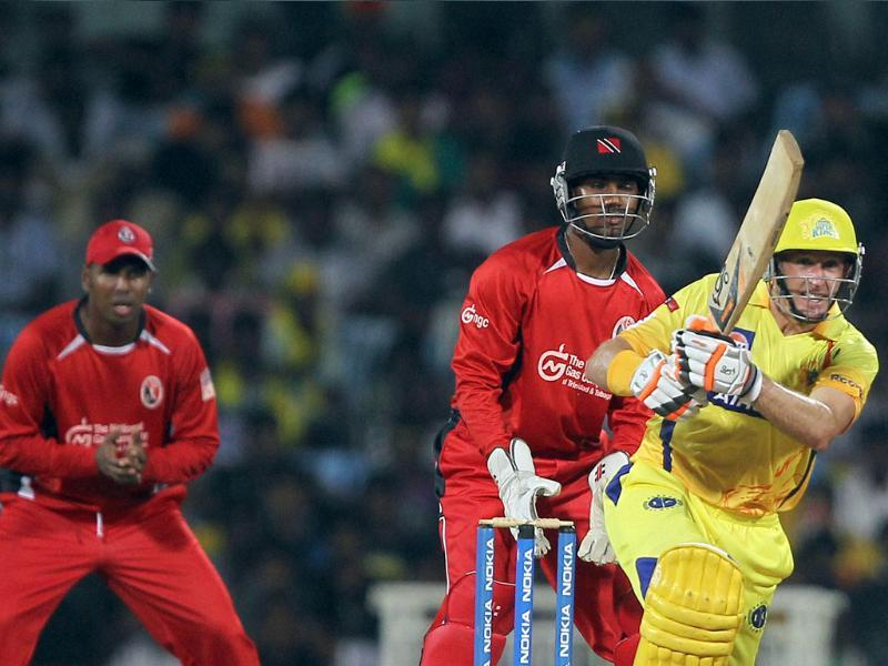 Chennai Super Kings' M Hussey in action during the Champions league T20-2011 match against Trinidad and Tobago in Chennai.