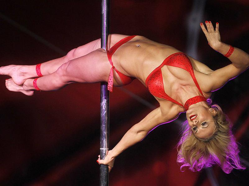 Yevgeniya Stocklin of Switzerland competes during the World Pole Dance final in Budapest.