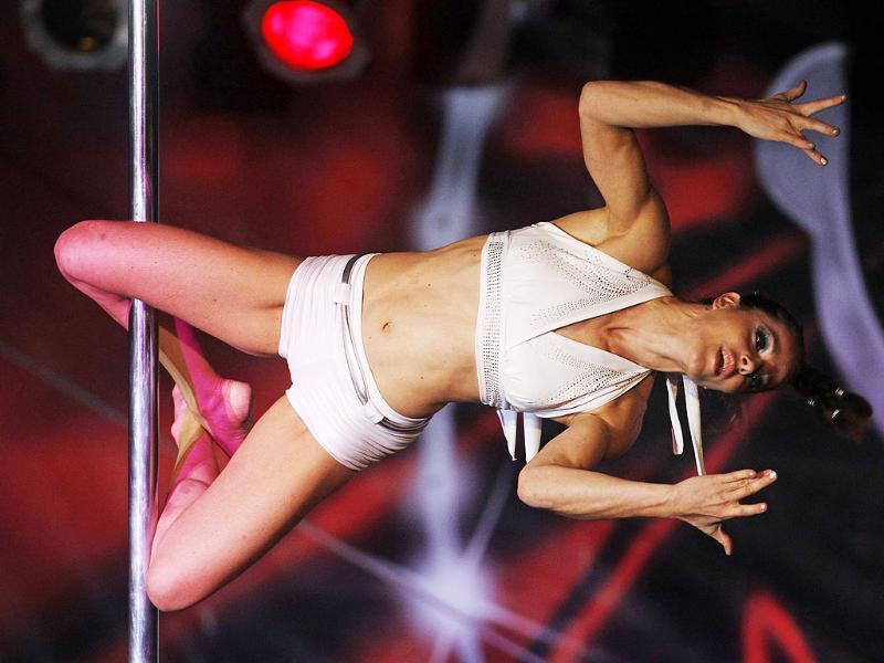 Hanka Venselaar of Netherland competes the World Pole Dance final in Budapest.