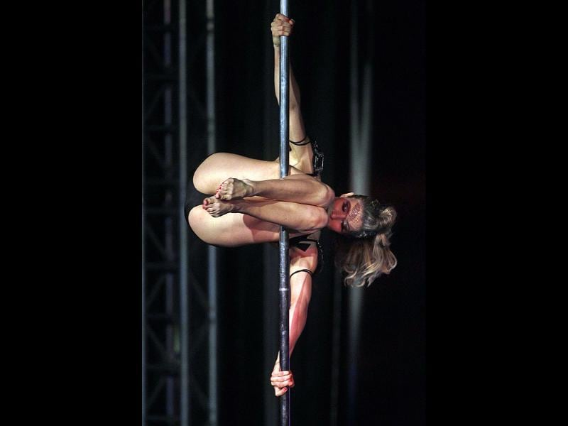 Laurence Hilsum of France competes during the World Pole Dance final in Budapest.