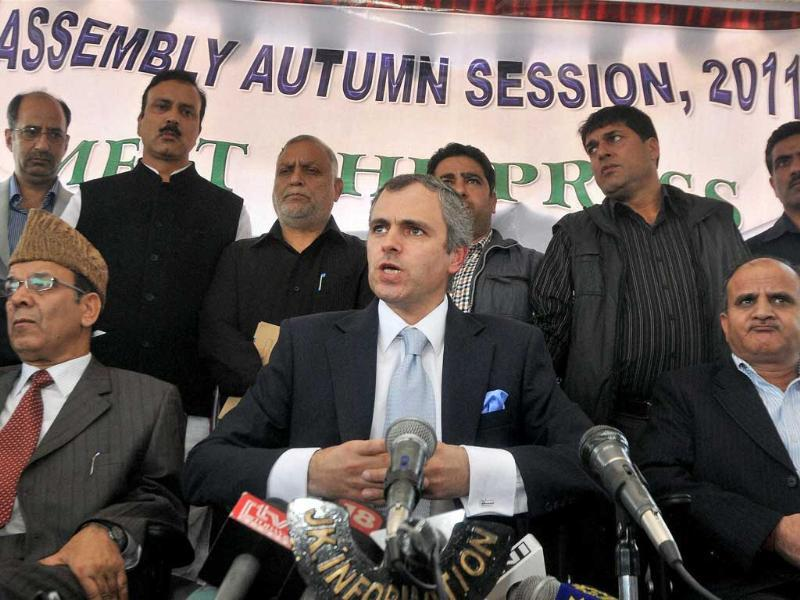 Jammu and Kashmir chief minister Omar Abdullah addresses a press conference in Srinagar.
