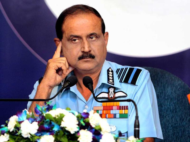 Chief of the Air Staff, Air Chief Marshal NAK Browne addresses a press conference in New Delhi.
