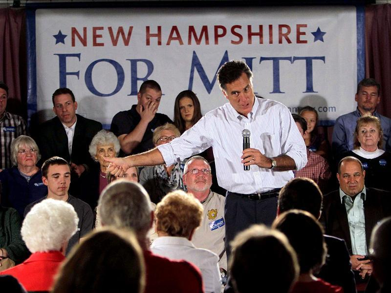Republican presidential candidate former Massachusetts Gov. Mitt Romney speaks during a campaign stop at the Derry-Salem Elks Lodge 2226.
