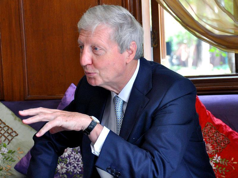 Luxembourg-born Frenchman Jules Hoffmann, one of the three scientists who won the Nobel Medicine Prize for work on the immune system, gestures as he talks during an interview in Shanghai.