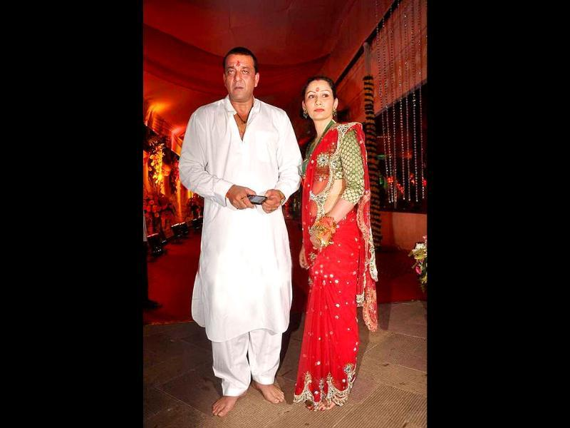 Sanjay Dutt and wife Maanyata invited a number of celebs from B-Town for their Navratri celebrations.