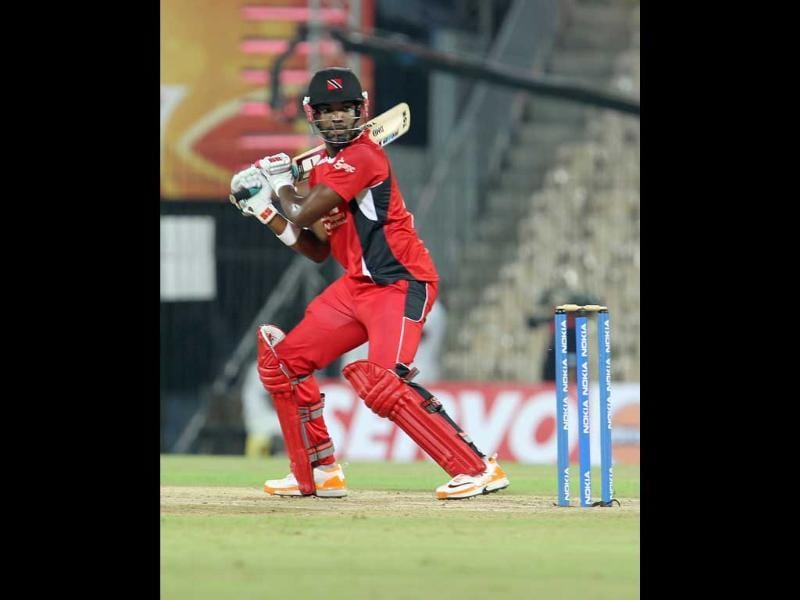 Darren Bravo of Trinidad and Tobago plays a shot against Cape Cobras during their Champions League Trophy T20 cricket match at MA Chidambaram Stadium in Chennai.