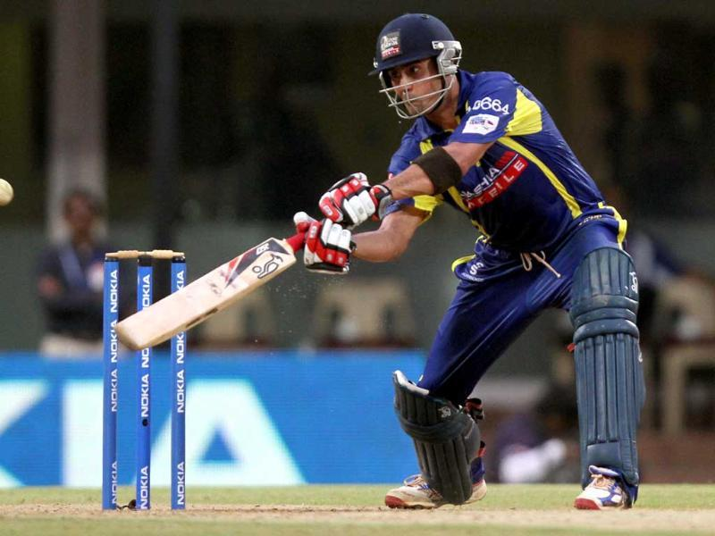Cape Cobras batsman Owais Shah in action against Trinidad and Tobago during the Champions League at MA Chidambaram Stadium in Chennai.