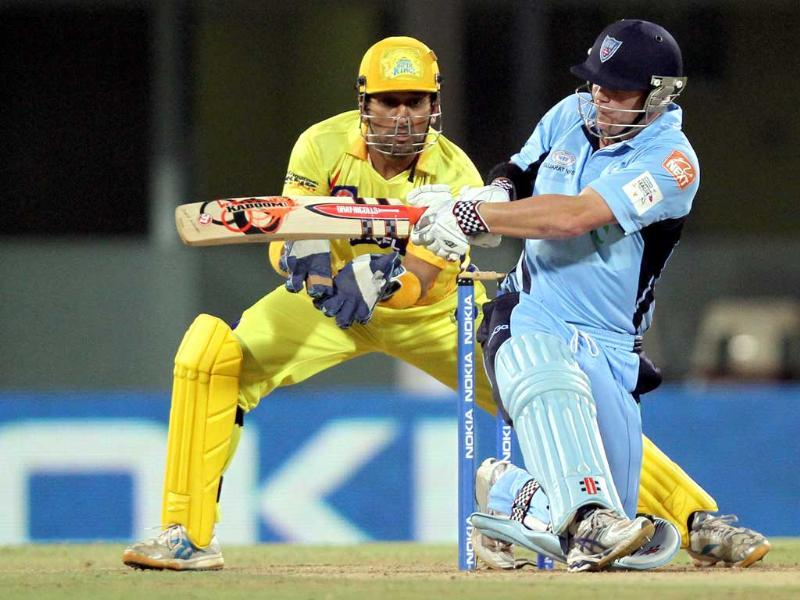 South Wales Blues batsman David Warner in action against Chennai Super Kings during the Champions League at M.A Chidambaram Stadium in Chennai.