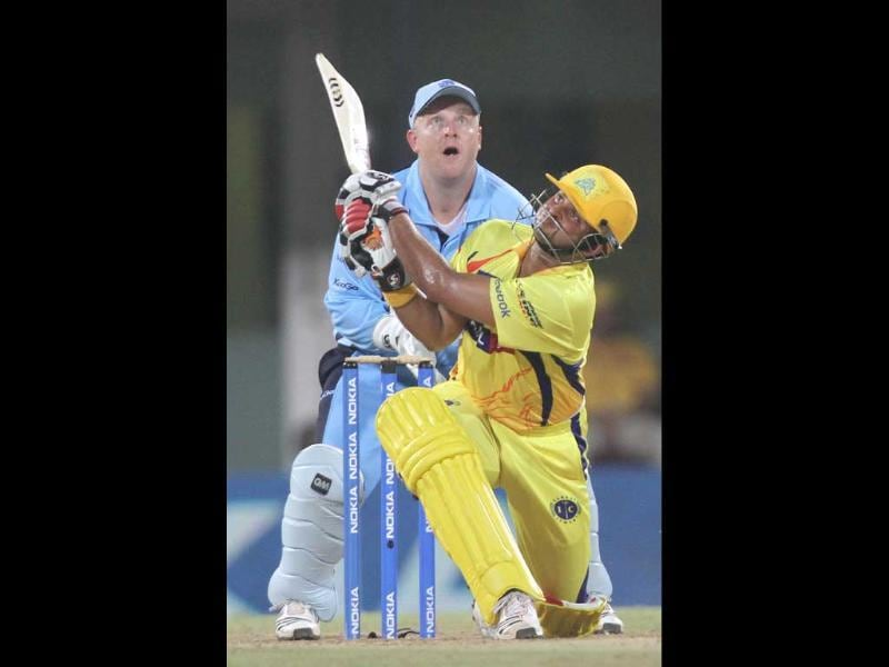 Chennai Super Kings batsman Suresh Raina in action against New South Wales Blue during the Champions League at M.A Chidambaram Stadium in Chennai.