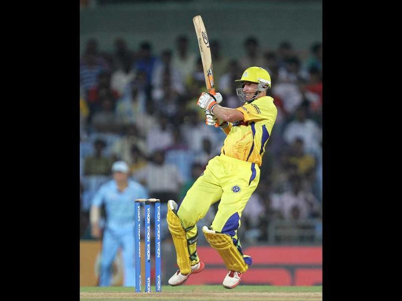 Chennai Super Kings' M Hussey in action during the Champions League T20-2011 match against New South Wales Blues in Chennai.