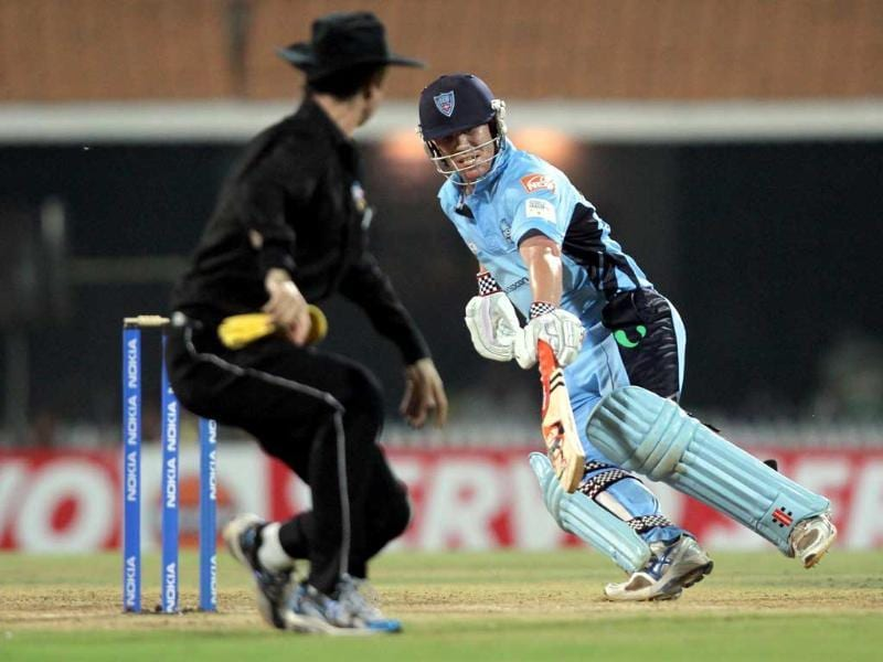 South Wales Blue batsman David Warner in action against Chennai Super Kings during the Champions League at M.A Chidambaram Stadium in Chennai.