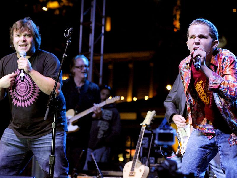 Jack Black, left, performs with Wyatt Isaacs, the 16-year-old star of the HBO documentary
