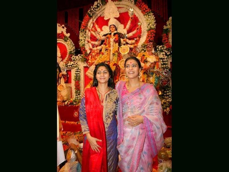 Kajol visits yet another Puja pandal, this time with sister Tanisha.