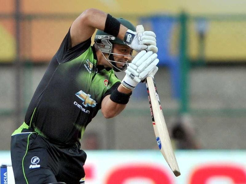Warriors batsman Ashwell Prince plays a shot during the Champions League Twenty20 League cricket match between Warriors and Somerset at the M Chinnaswamy Stadium in Bangalore.