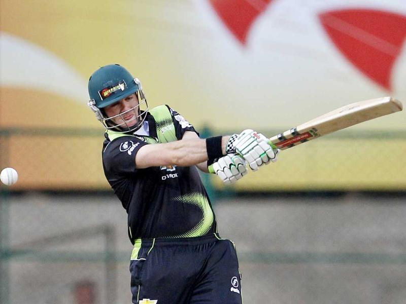 Warriors batsman Jon-Jon Smuts plays a shot during the Champions League Twenty20 cricket match against Somerset in Bangalore.