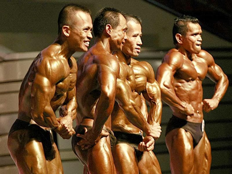 Competitors at the Asian World Bodybuilding and Physique Sports Championship in Bangkok, Thailand.