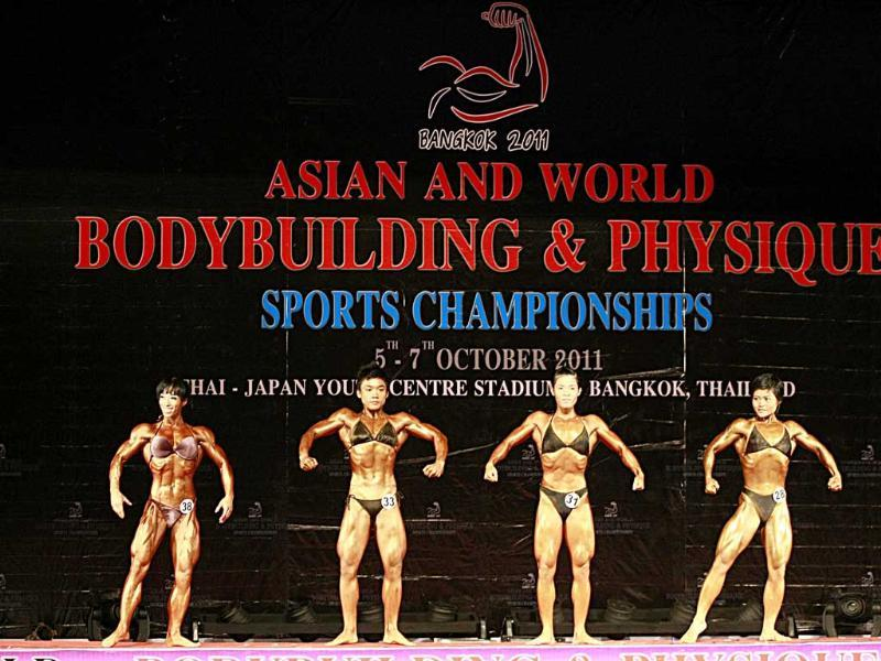 Competitors at the 49-kilogram category of the Asian World Bodybuilding and Physique Sports Championship in Thailand.
