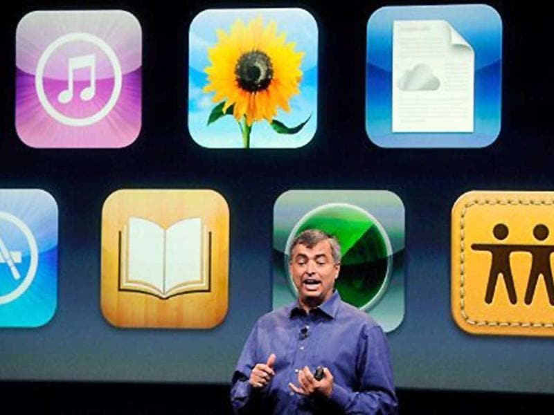 Apple's senior vice president of Internet Software and Services Eddy Cue speaks about iCloud during introduction of the new iPhone 4s.