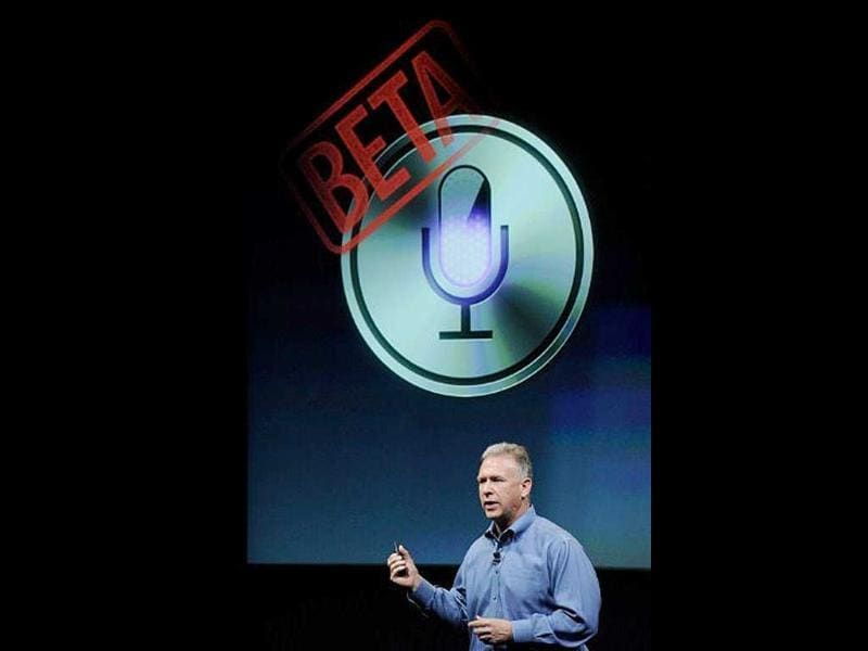 Apple's senior VP of Worldwide product marketing Phil Schiller speaks about the new voice recognition app called Siri during introduction of the new iPhone 4s.