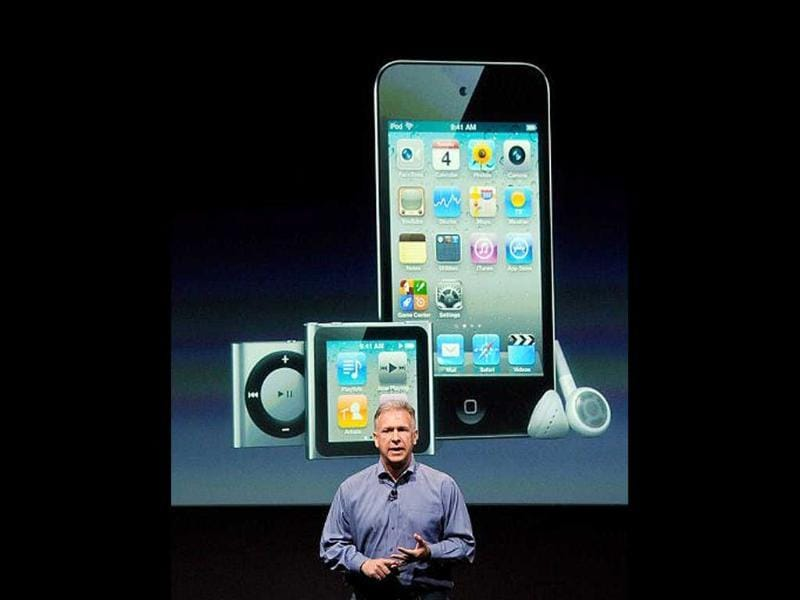 Apple's senior VP of Worldwide product marketing Phil Schiller speaks about the iPod touch and iPod Nano during introduction of the new iPhone 4s.
