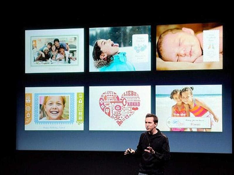 Apple's Senior Vice President of iOS Scott Forstall speaks about the new greeting card app at the event introducing the new iPhone 4s.