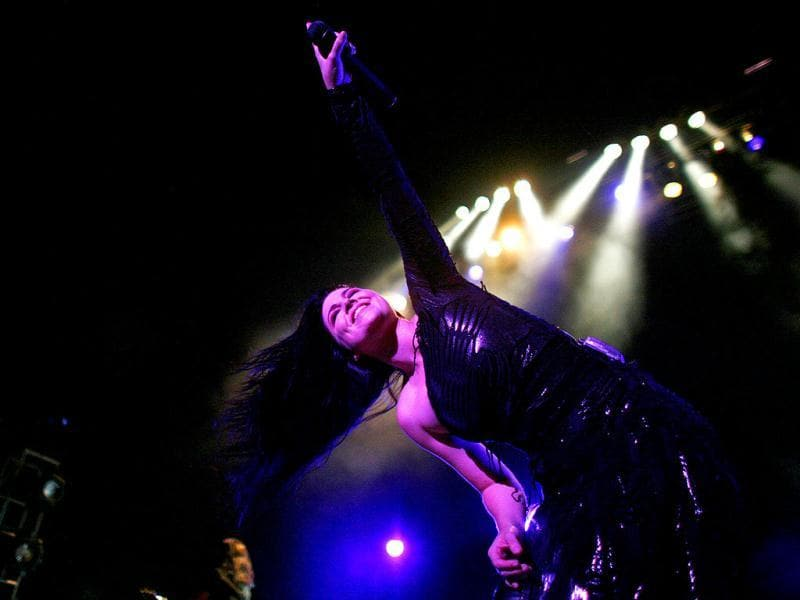 Lead vocalist Amy Lee of the American alternative rock band Evanescence, performs during a concert in San Juan, Puerto Rico.