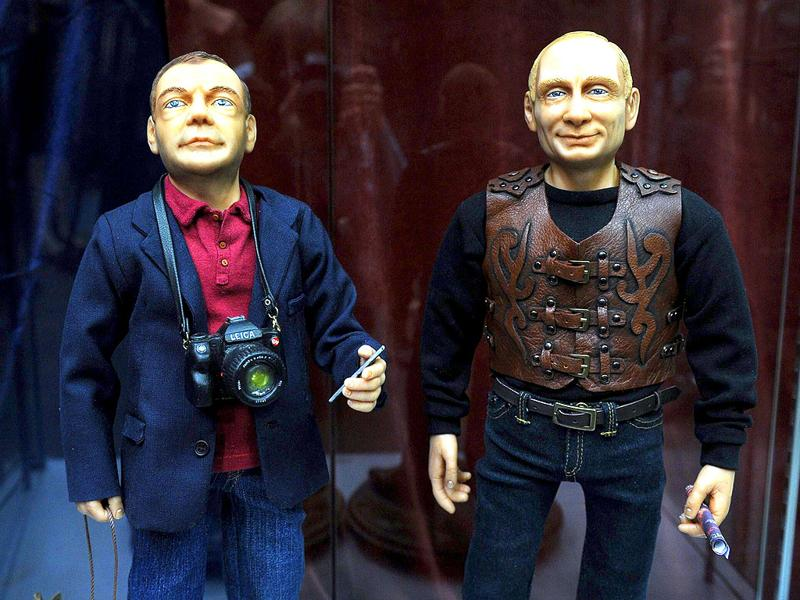 Dolls depicting Russian President Dmitry Medvedev (L) and Prime Minister Vladimir Putin (R) by designer Vladimir Rychkal are exhibited during