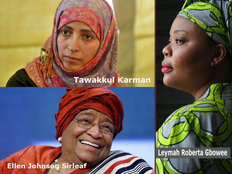 Liberian President Ellen Johnson-Sirleaf, her compatriot Leymah Gbowee, and Yemeni women's rights and democracy activist Tawakkul Karman are the winners of the Nobel Peace Prize 2011.