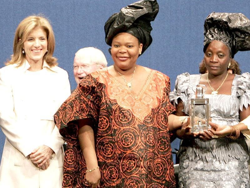 File photo of peace activist and Nobel Laureate Leymah Gbowee (C) accepting an award at the John F Kennedy Presidential Library and Museum in Boston, Massachusetts.