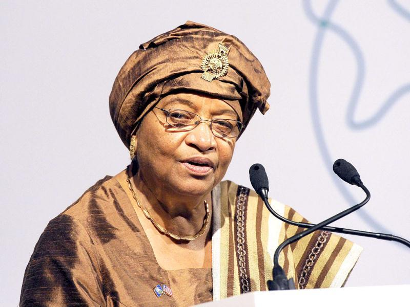 File photo of President of Liberia and Nobel Laureate, Ellen Johnson-Sirleaf speaking at the Global Alliance for Vaccines and Immunisation (GAVI) conference in London.