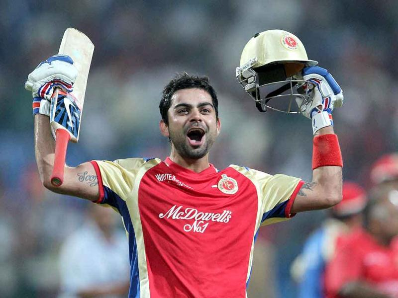 Royal Challengers Bangalore Virat Kohli celebrates after winning the 1st Semifinal of the Champions League T20-2011 in Bangalore.