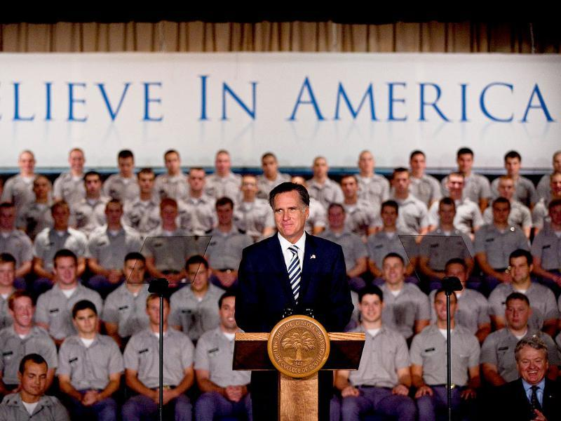 Former Massachusetts Gov and Republican presidential candidate Mitt Romney gives a foreign policy address to cadets at the Citadel in Charleston, South Carolina. Romney spoke about the war in Afghanistan and other military topics.