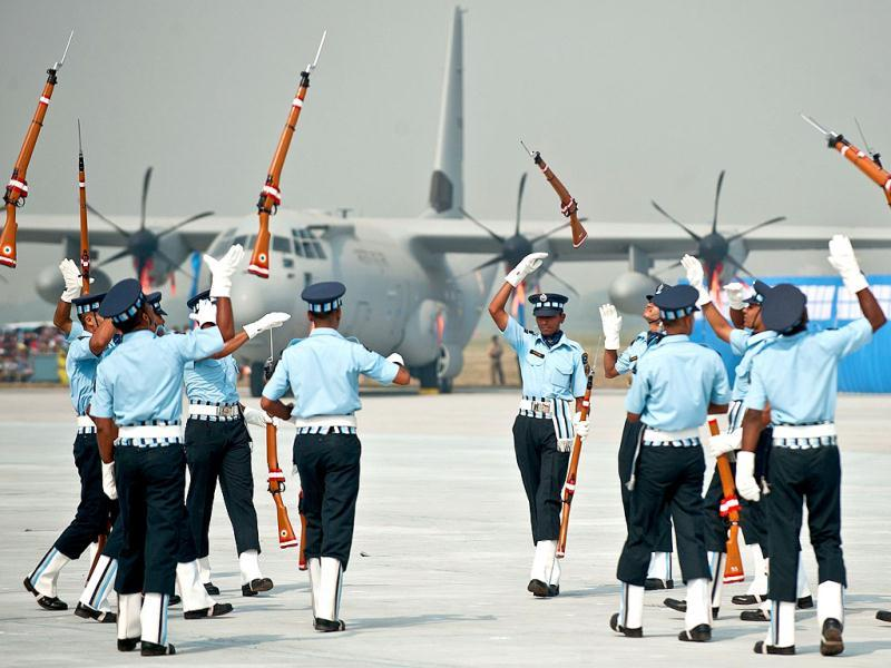 Indian Air Force's Air warrior drill team, perform during the Air Force Day parade at Air Force Station Hindon in Ghaziabad on the outskirts of New Delhi.