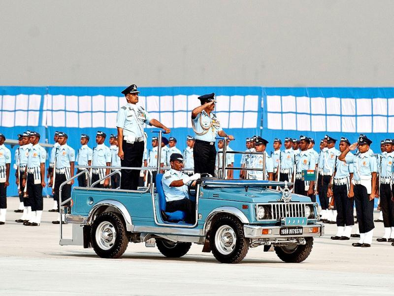 Indian Air Force Chief of Air Staff Norman Anil Kumar Browne inspects a guard of honour during the Air Force Day parade at Air Force Station Hindon in Ghaziabad on the outskirts of New Delhi.