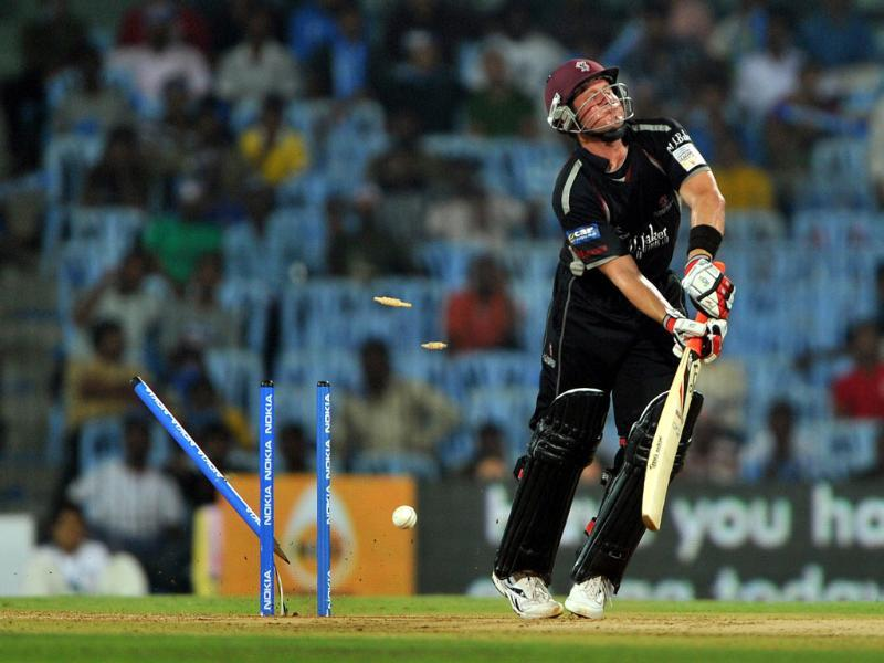Somerset batsman Roelof Van Der Merwe reacts after getting out during the Champions League Twenty20.