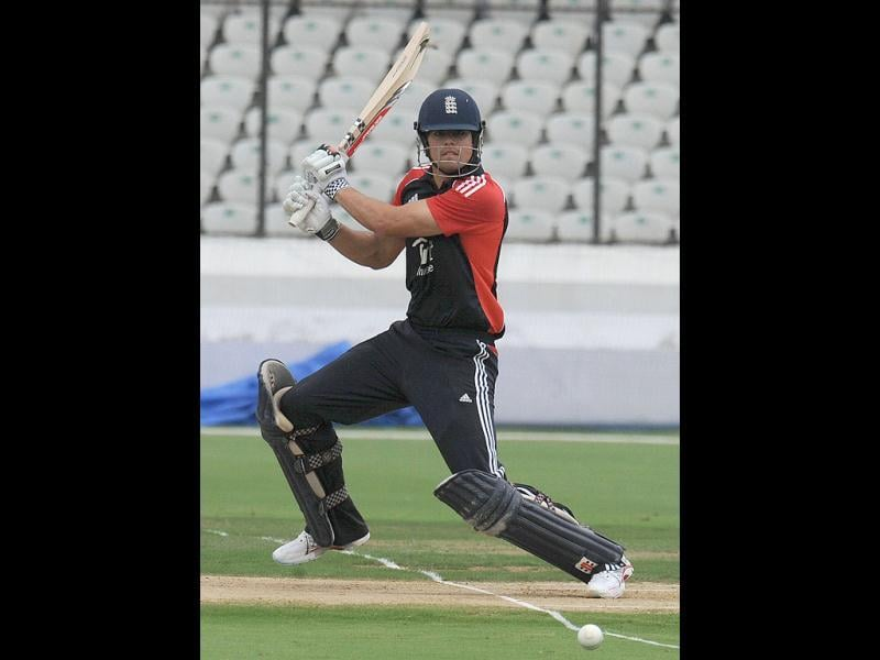 England captain Alastair Cook plays a shot during a practice match against Hyderabad XI at The Rajiv Gandhi International Stadium in Hyderabad.