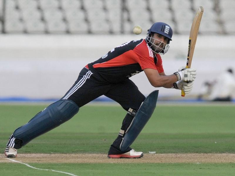 England cricketer Ravi Bopara plays a shot during a practice match against Hyderabad XI at The Rajiv Gandhi International Stadium in Hyderabad.