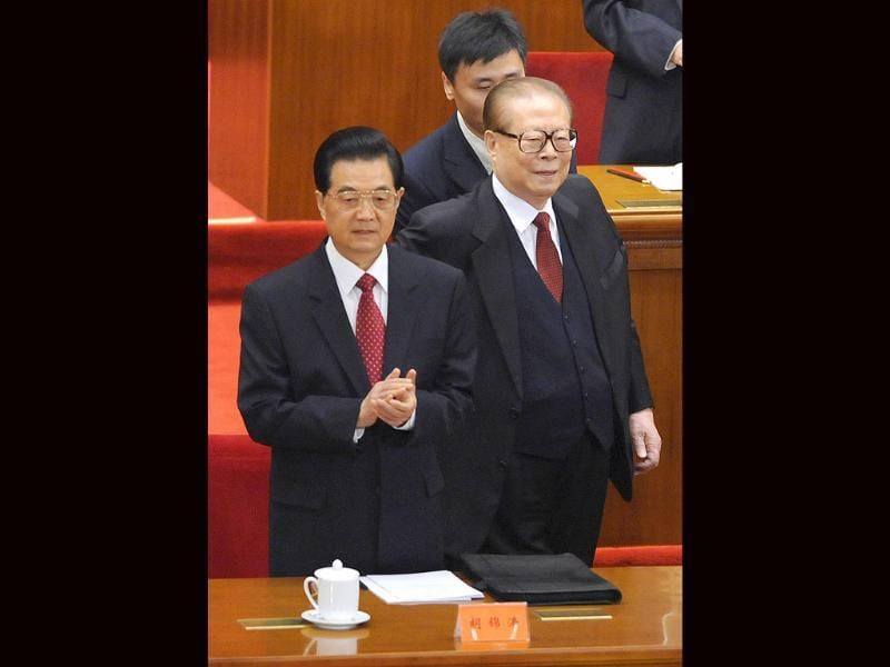 Chinese President Hu Jintao (L) and former president Jiang Zemin (R) attend a conference to commemorate the centennial of the 1911 Revolution that overthrew imperial rule on the mainland, at the Great Hall of the People in Beijing.