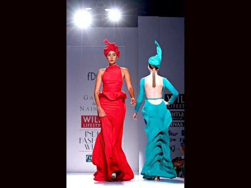 Bold colours and gown reigned at Gauri&Nainika's collection.
