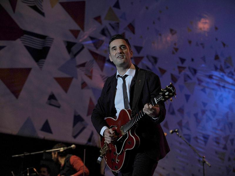 Uruguayan singer Jorge Drexler performs during the Uruguay's bicentennial celebrations in Montevideo.