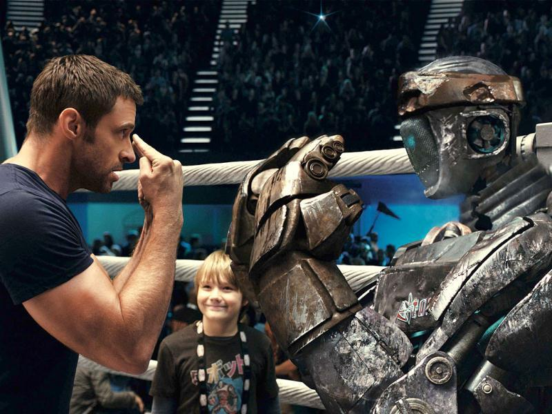 (FILE) This file image provided by Disney/DreamWorks II shows Hugh Jackman (L) and Dakota Goyo in a scene from Real Steel.