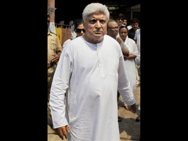 Javed Akhtar arrives to pay his condolences.