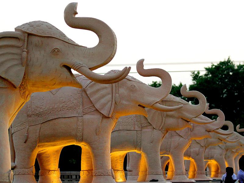 "Uttar Pradesh chief minister Mayawati's ""dream project"" — Bhim Rao Ambedkar Park — is home to more than 20 statues of elephants. Virendra Singh Gosain/HT photos"